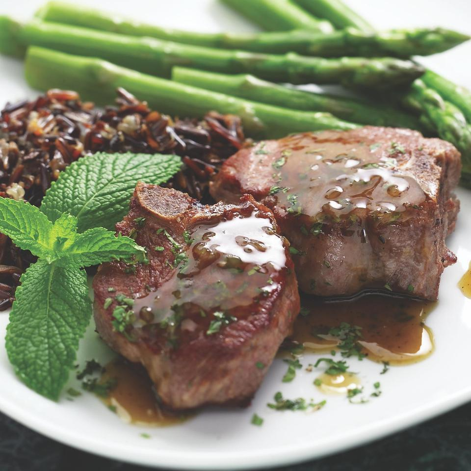 Lamb Chops with Mint Pan Sauce EatingWell Test Kitchen