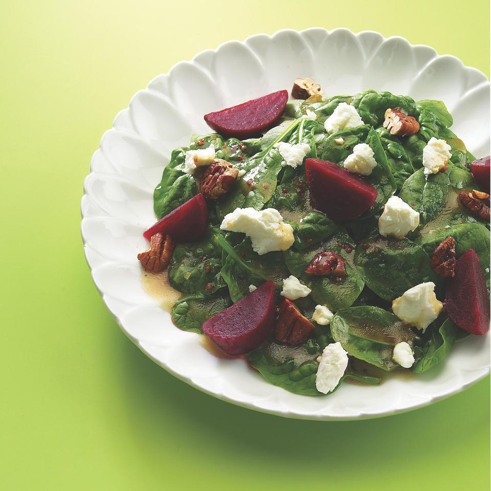 This healthy and pretty beet salad recipe is dressed with a tangy-sweet maple-mustard vinaigrette. Use the leftover dressing for any salad later in the week.