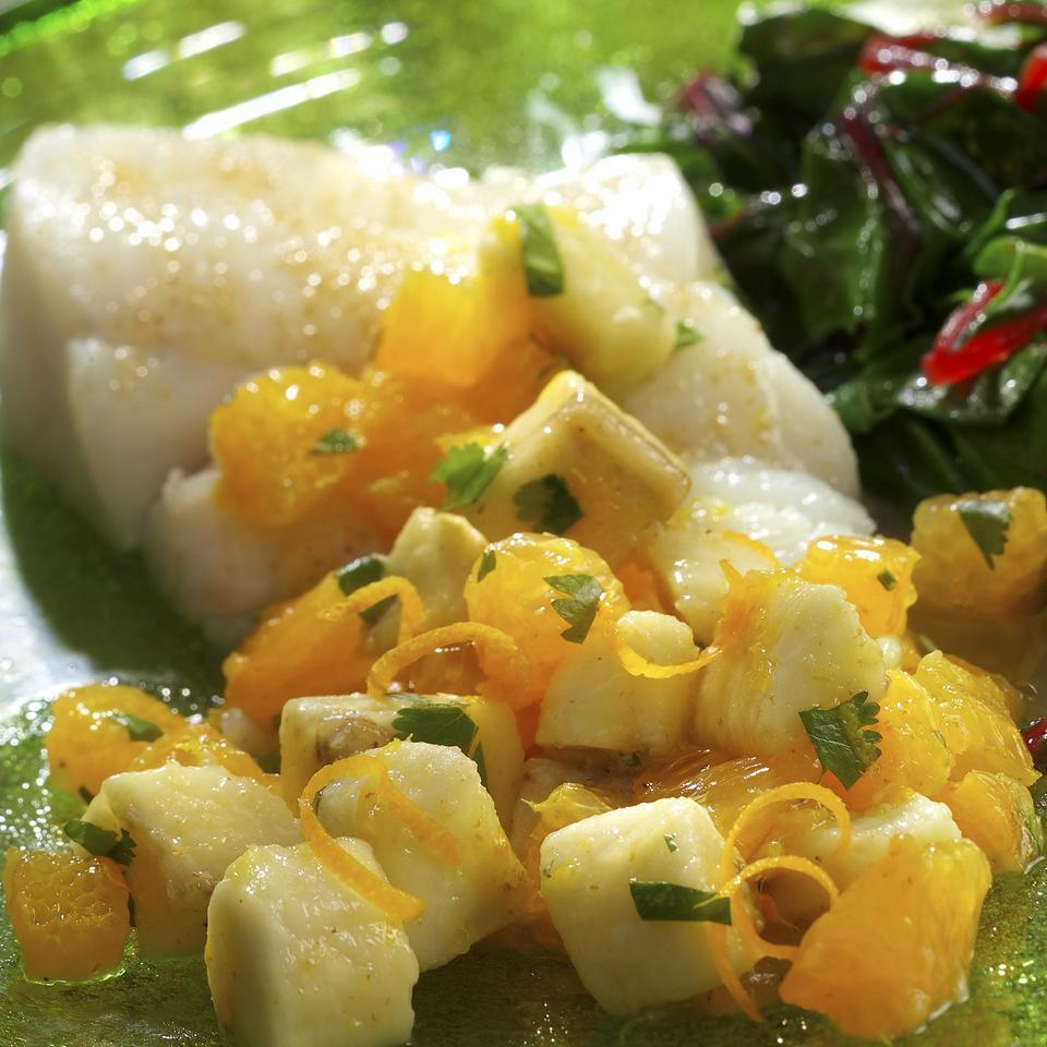 Roasted Halibut with Banana-Orange Relish EatingWell Test Kitchen