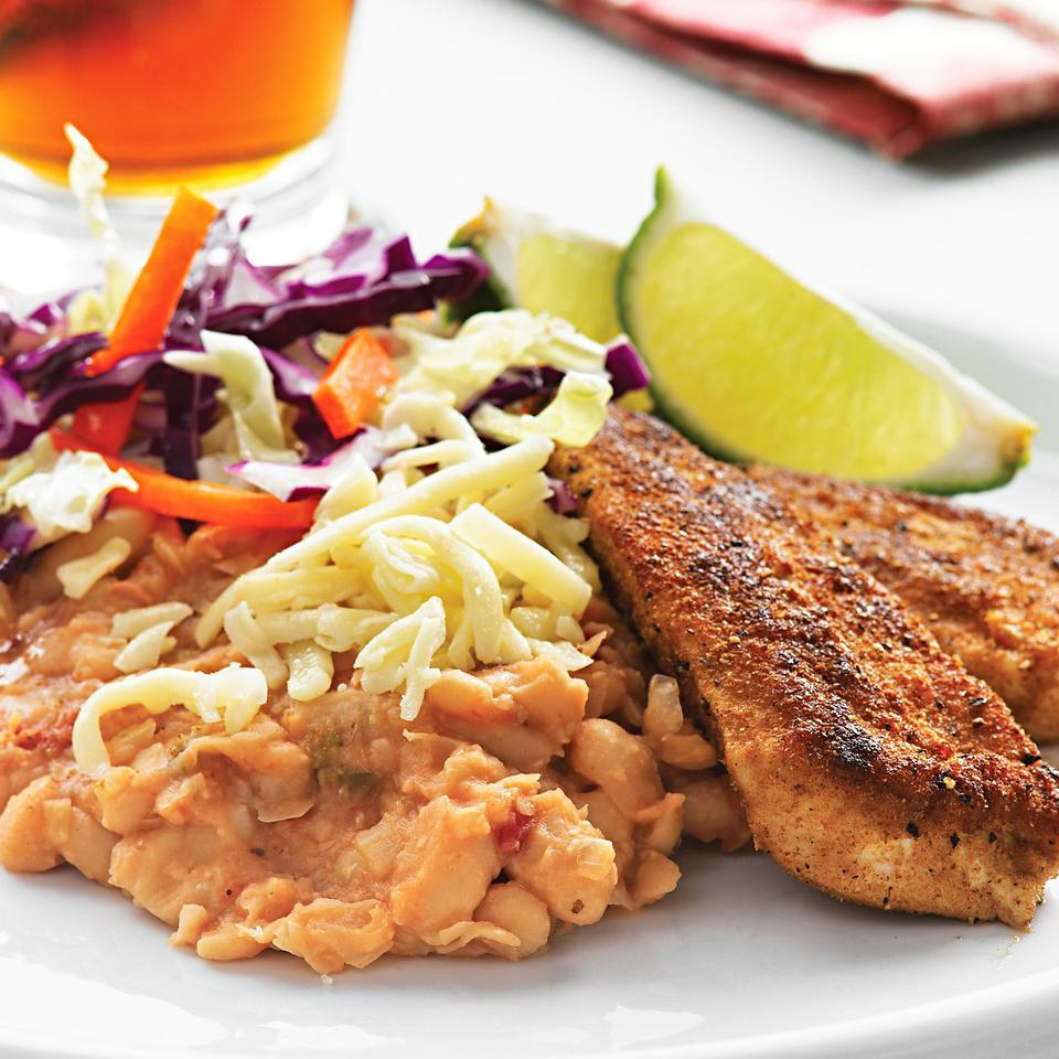 Golden Chicken with Spicy Refried Beans EatingWell Test Kitchen