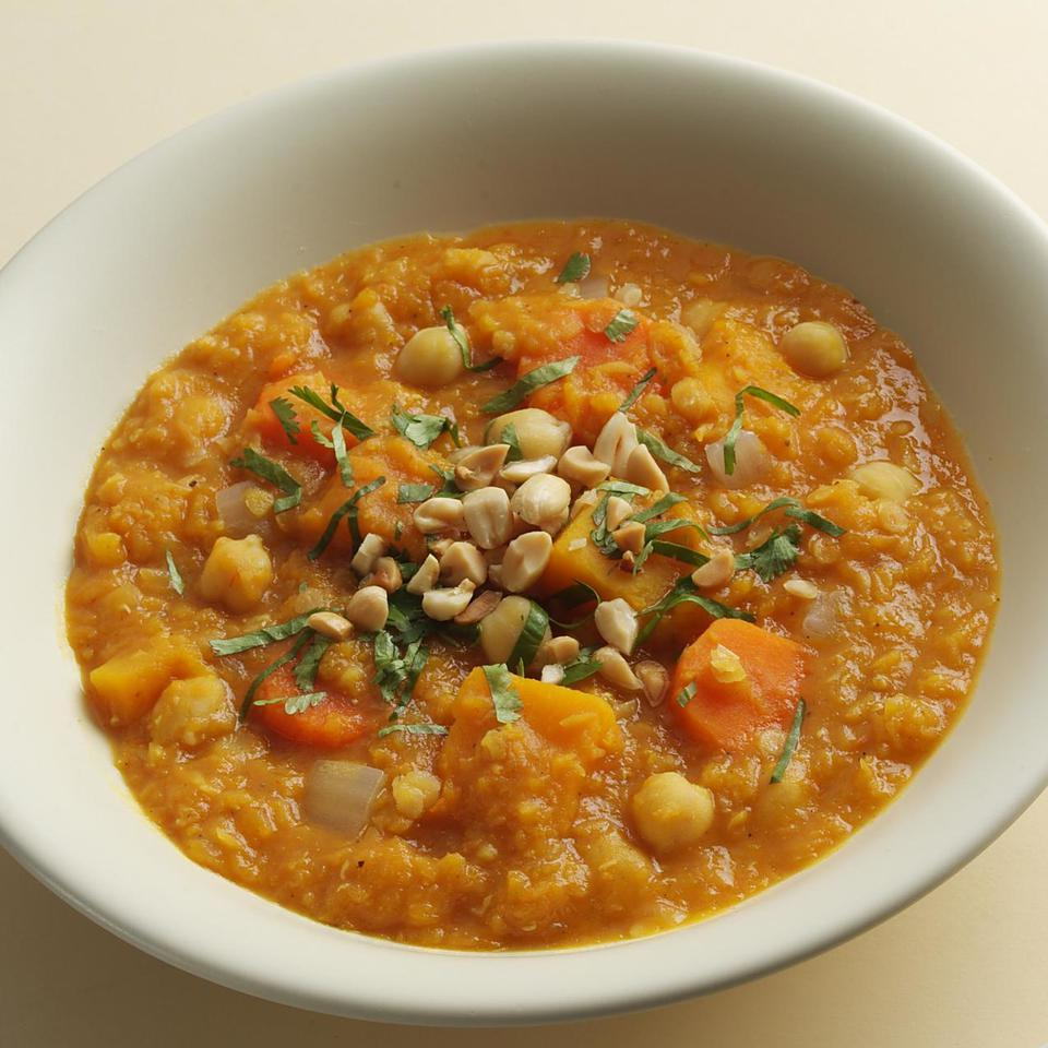 Modeled on North African stews, this aromatic vegetarian main course can be served over brown rice or steamed spinach. Source: EatingWell Magazine, February/March 2006