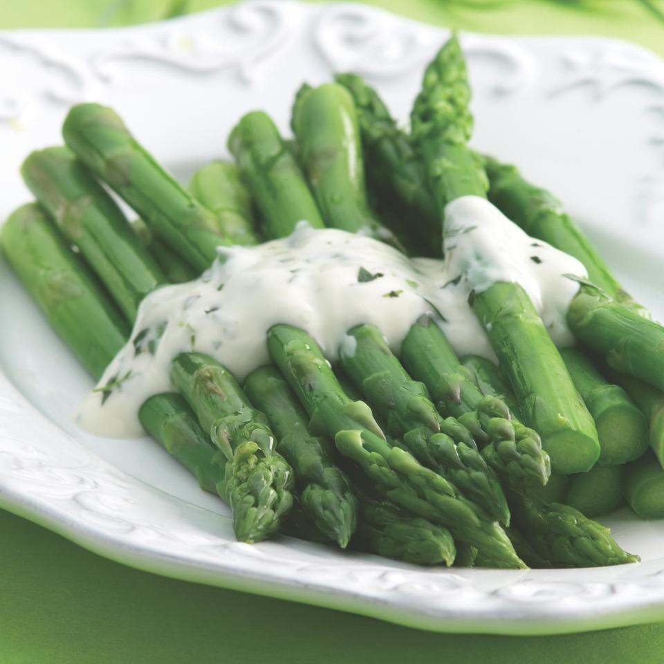 Asparagus Topped with Creamy Tarragon Sauce EatingWell Test Kitchen