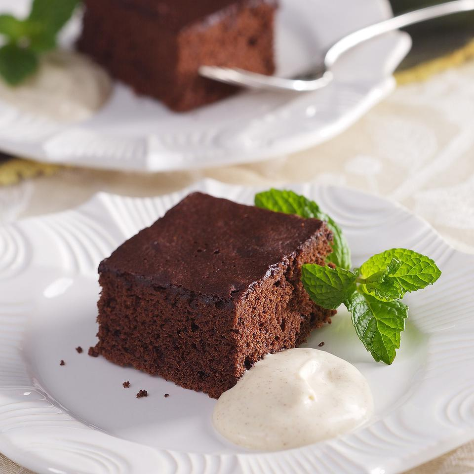 Chocolate-Cinnamon Sheet Cake with Almond Cream EatingWell Test Kitchen