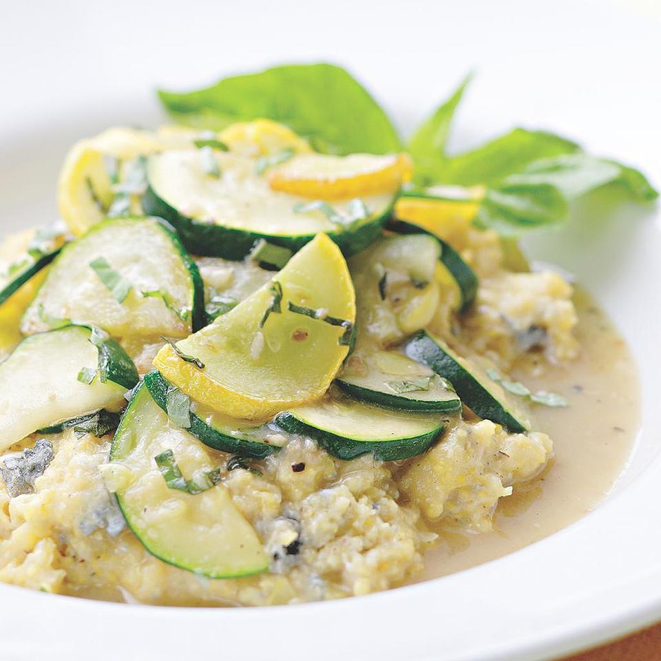 Creamy Gorgonzola Polenta with Summer Squash Saute EatingWell Test Kitchen