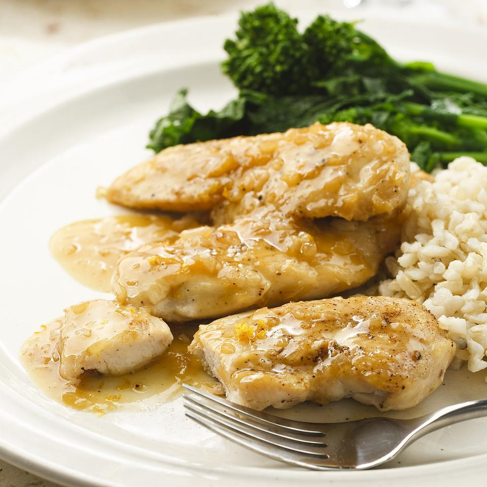 Orange marmalade and freshly grated orange zest make a deliciously tangy sauce for quick-cooking chicken tenders. Serve with brown rice.