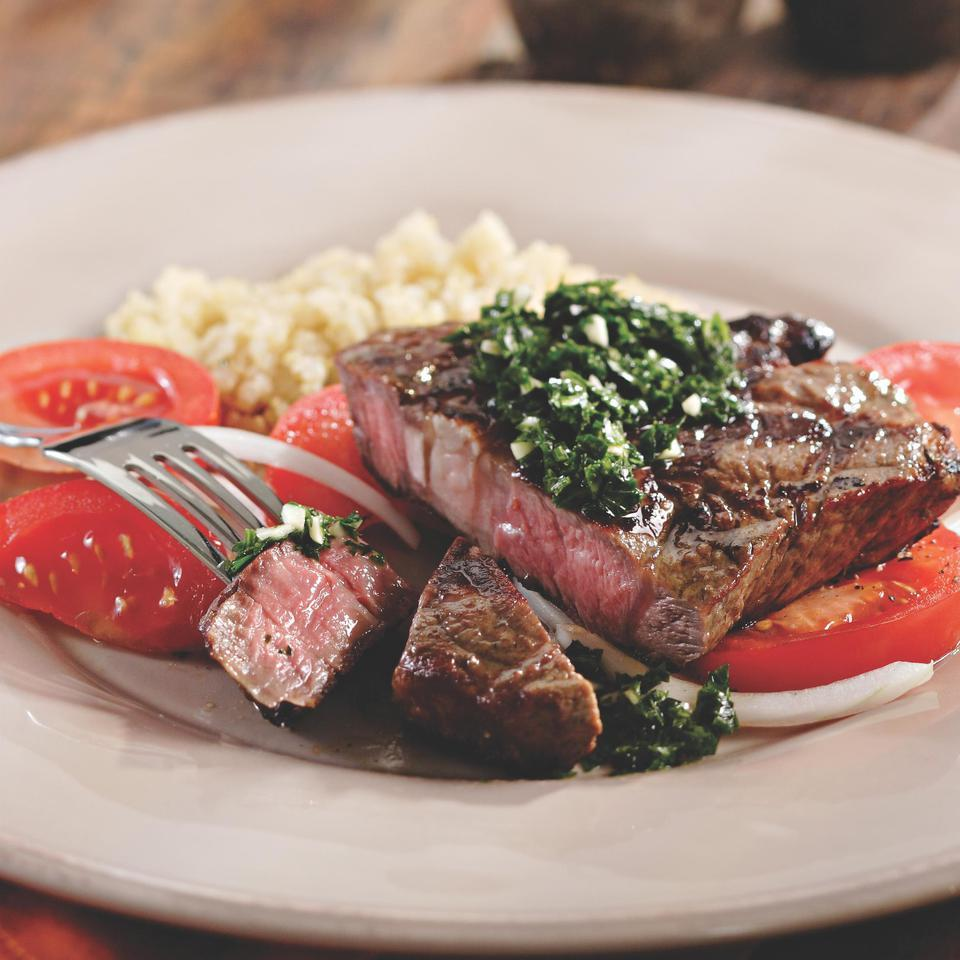 Grilled Rib-Eye with Tomato Salad & Chimichurri Sauce Jessie Price