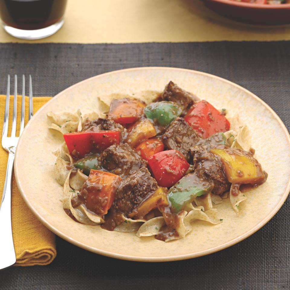 Fennel-Crusted Sirloin Tips with Bell Peppers EatingWell Test Kitchen