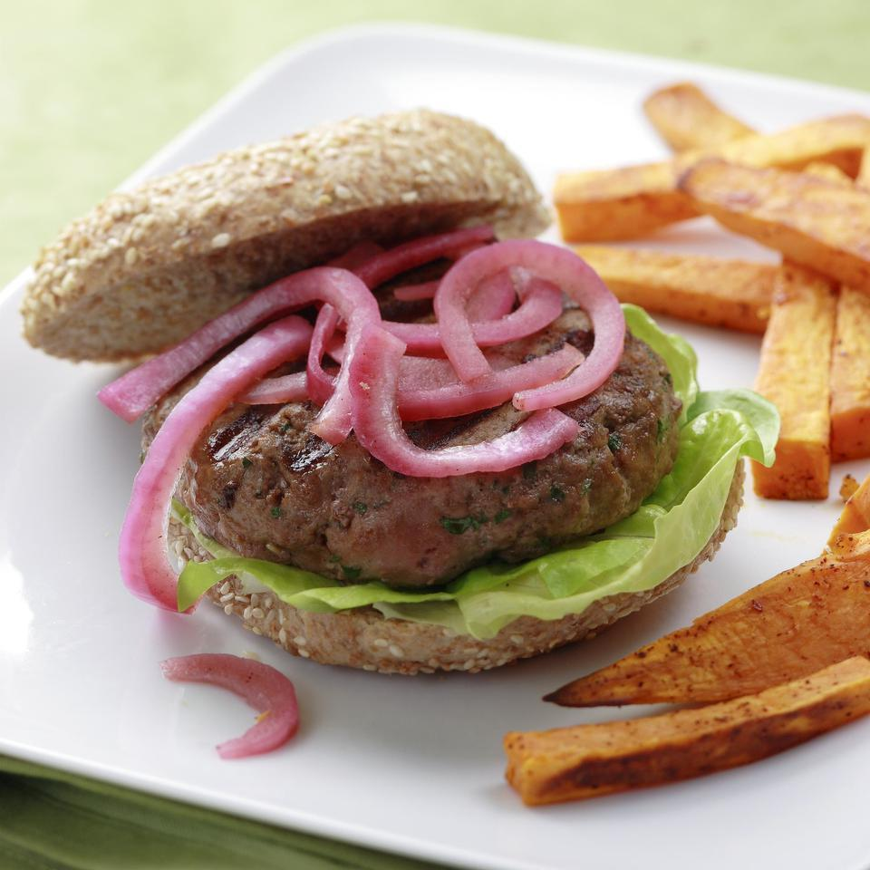 Spicy Southwest flavors pair with sweet and tangy pickled red onions to create a standout turkey burger. If you're used to having your burgers made of beef with plenty of melted cheese on top, don't worry. You won't be disappointed. Serve with corn on the cob and sweet potato fries.