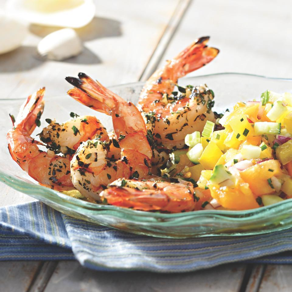 Grilled Shrimp Cocktail with Yellow Gazpacho Salsa EatingWell Test Kitchen