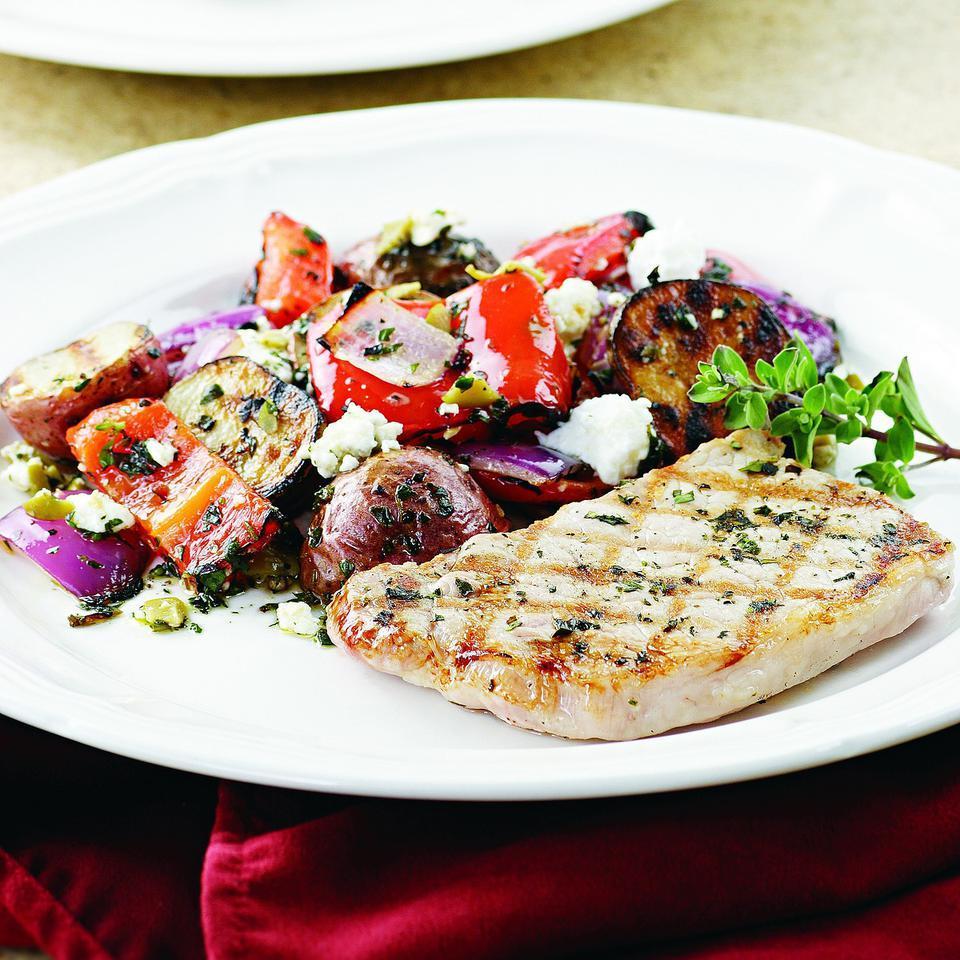 Marjoram-Rubbed Pork & Grilled Potato Salad EatingWell Test Kitchen