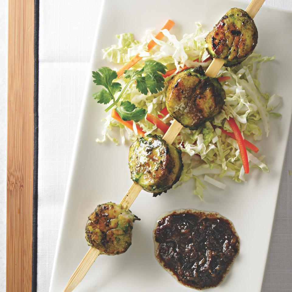 Grilled Sea Scallops with Cilantro & Black Bean Sauce Corinne Trang