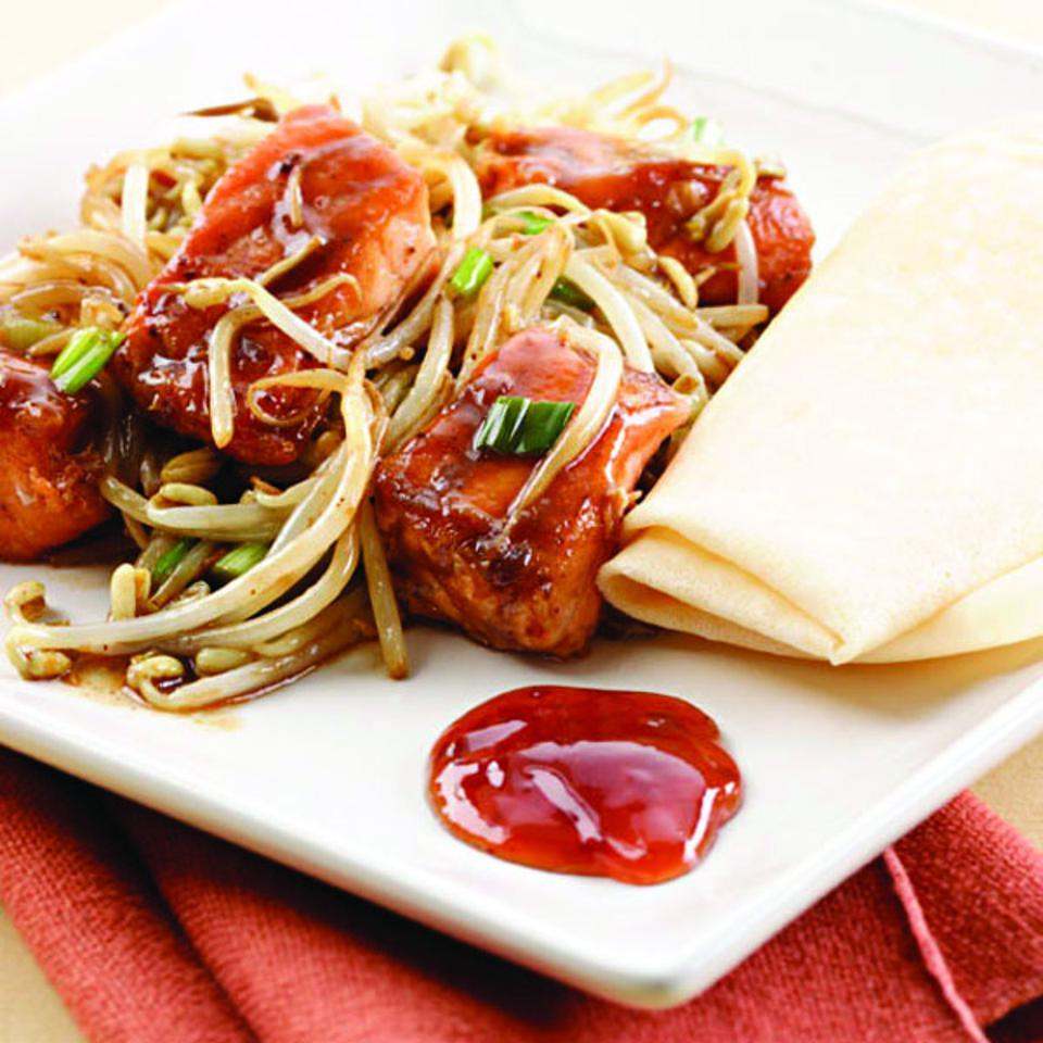 We use a generous amount of fiber- and vitamin C-rich bean sprouts in this quick stir-fry that combines tender cubes of salmon and a rich black bean-garlic sauce. Make it a Meal: Serve with store-bought crepes and plum sauce.
