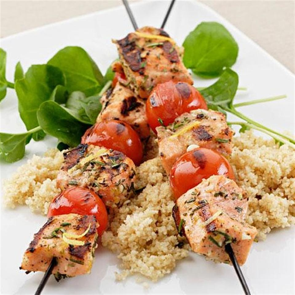Grilled Rosemary-Salmon Skewers EatingWell Test Kitchen