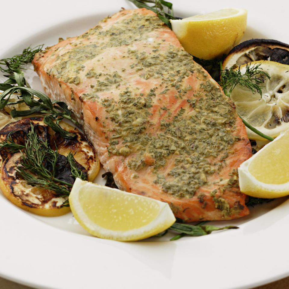 Grilled Salmon with Mustard & Herbs EatingWell Test Kitchen