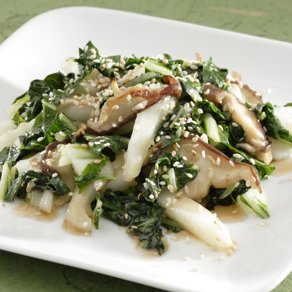 Sesame-Shiitake Bok Choy EatingWell Test Kitchen