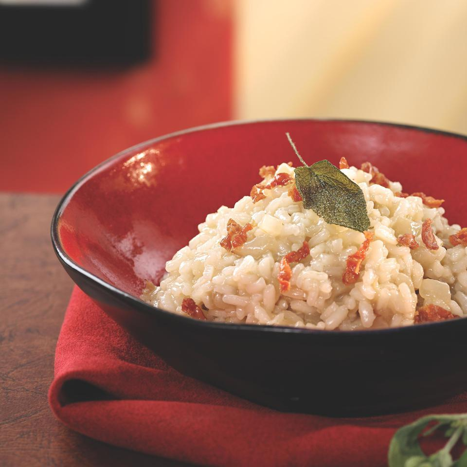 Pear Risotto with Prosciutto & Fried Sage Leaves Marie Simmons