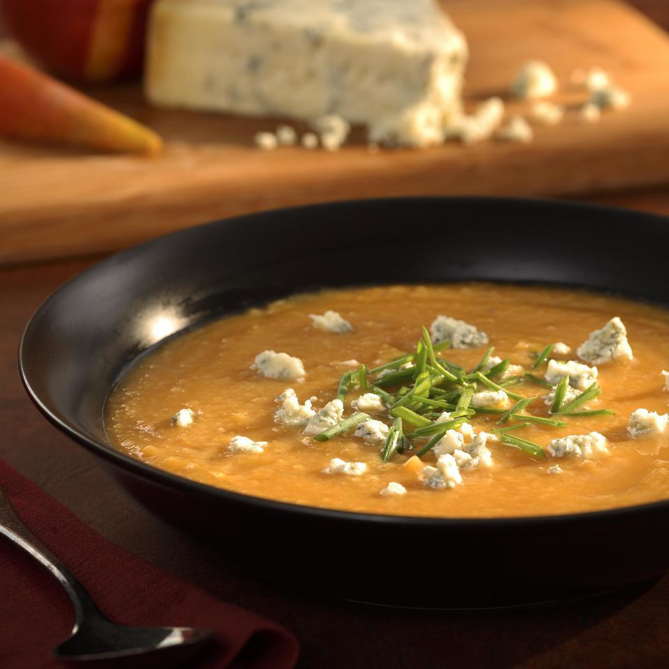 Roasted Pear-Butternut Soup with Crumbled Stilton Marie Simmons