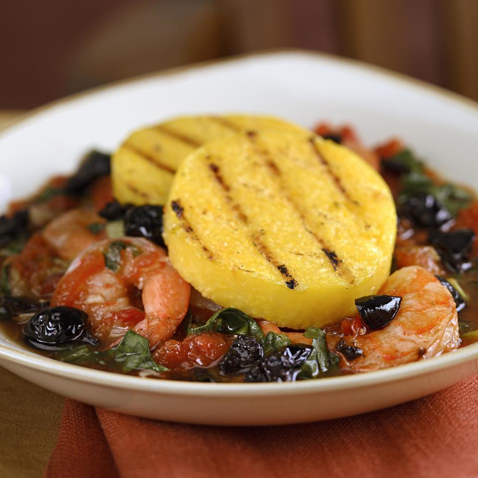 Grilled Polenta with Shrimp & Escarole EatingWell Test Kitchen