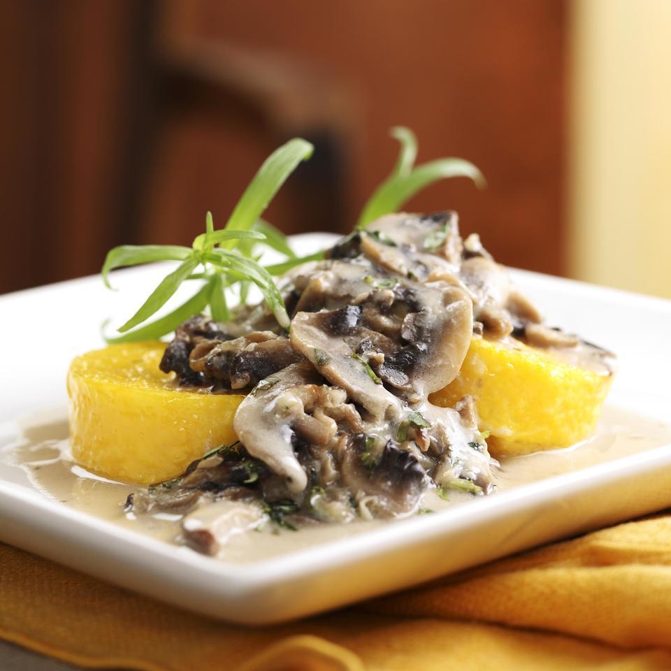 Polenta with Creamy Mushroom Sauce EatingWell Test Kitchen