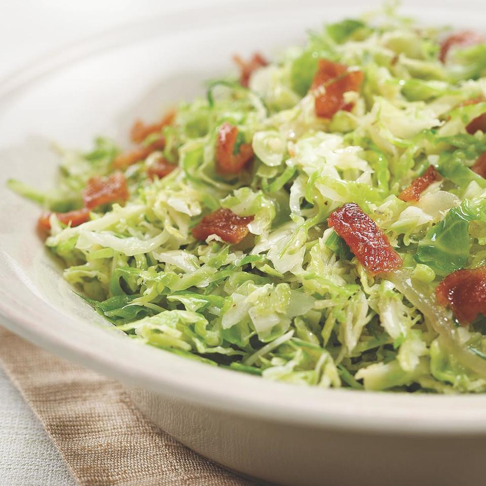 Shredded Brussels Sprouts with Bacon & Onions EatingWell Test Kitchen