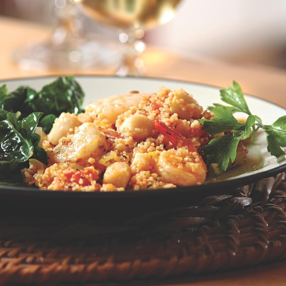 Seafood Couscous Paella EatingWell Test Kitchen