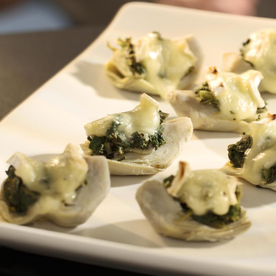 Spinach-&-Brie-Topped Artichoke Hearts EatingWell Test Kitchen