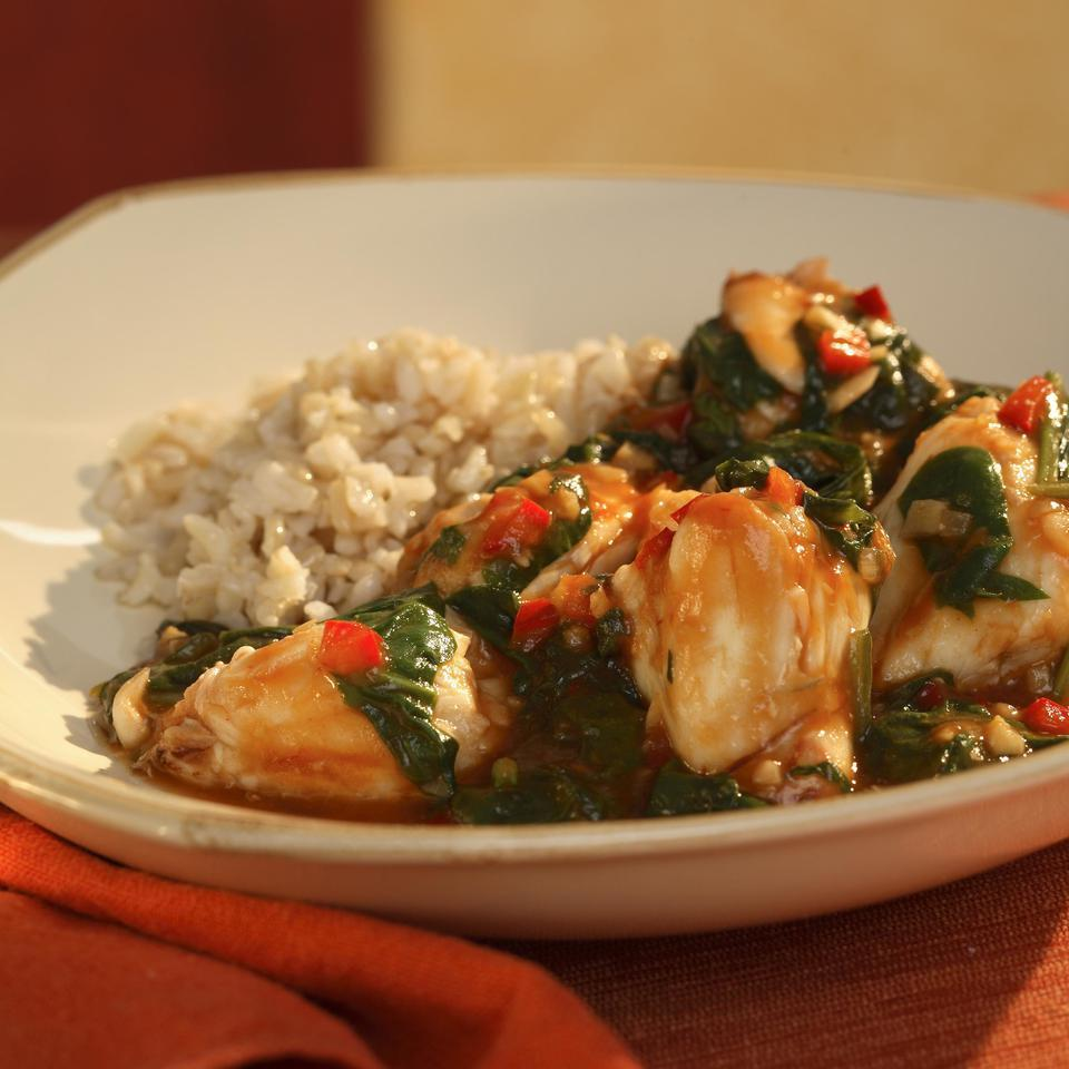 Singapore Chile Crab with Spinach EatingWell Test Kitchen
