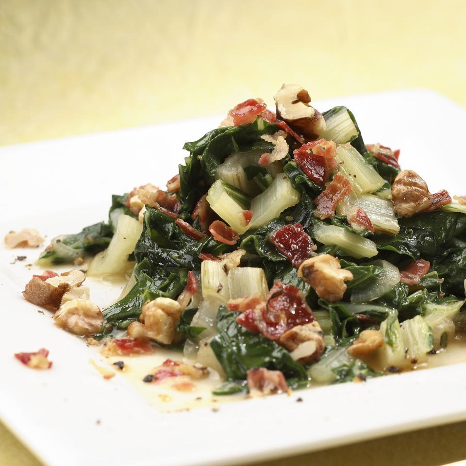 Chard with Shallots, Pancetta & Walnuts EatingWell Test Kitchen