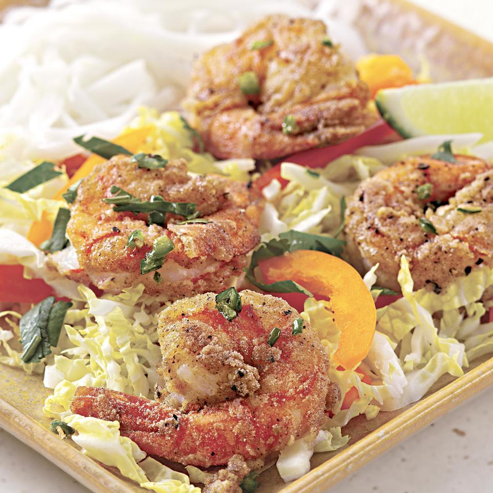 "Rice flour is the ""secret ingredient"" in this dish and is used to make the flavorful coating for the shrimp. But if you can't find it, cornstarch makes a fine substitute. Serve with rice noodles or brown rice and a sprinkle of chopped scallions."