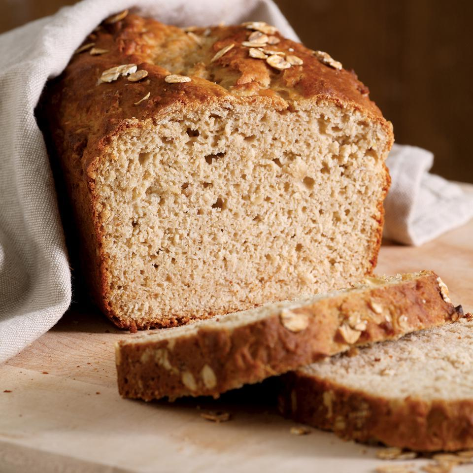 This honey-oat bread has a pleasant flavor and divinely moist, tender crumb. It requires minimal mixing and cleanup, calls for ingredients usually stocked in the pantry, and is tasty yet healthful. Recipe by Nancy Baggett for EatingWell. Source: EatingWell Magazine, January/February 2007