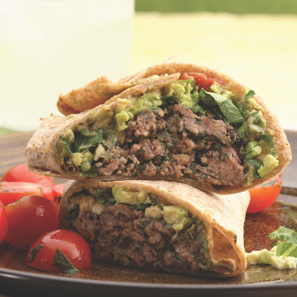 Southwestern Beef & Bean Burger Wraps EatingWell Test Kitchen