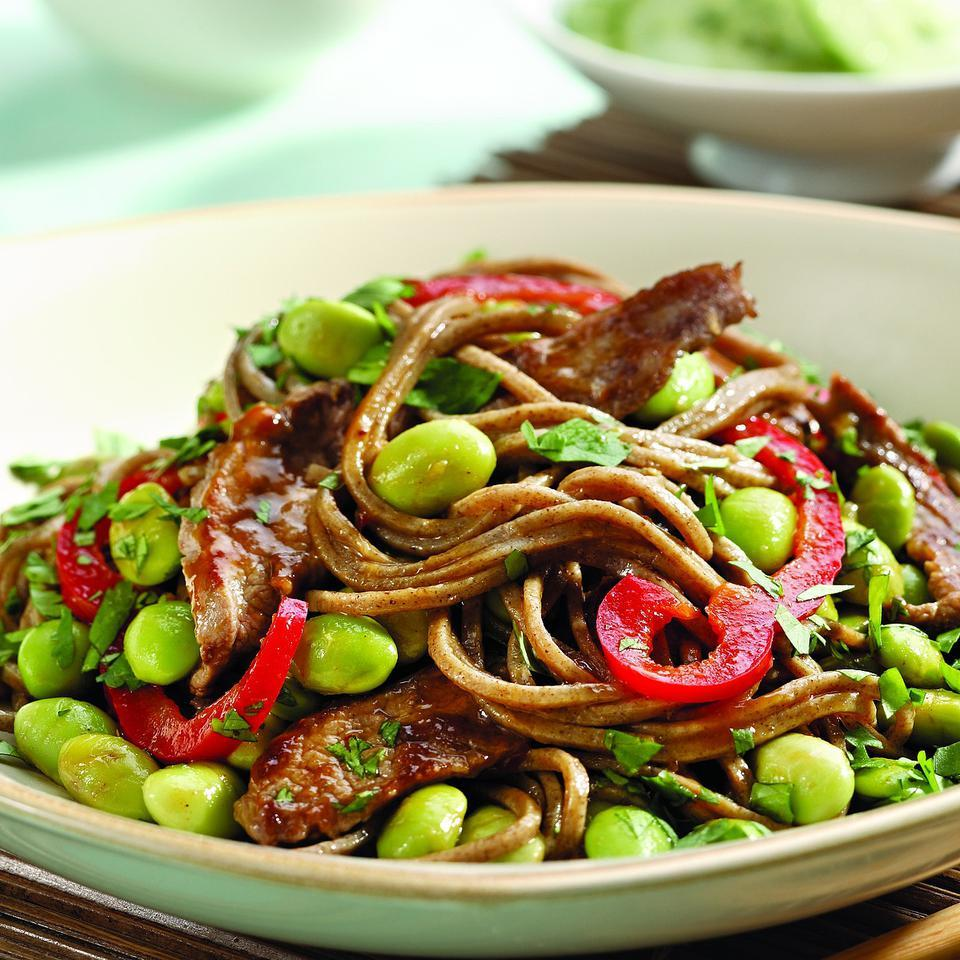 Hoisin Beef & Edamame Noodles EatingWell Test Kitchen