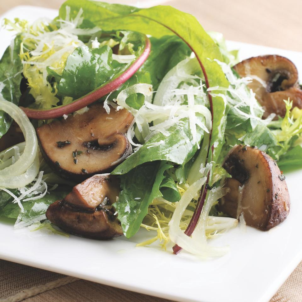 Here we make a warm sherry-mushroom dressing to toss over bitter greens. The dressing wilts the greens until they are just tender.