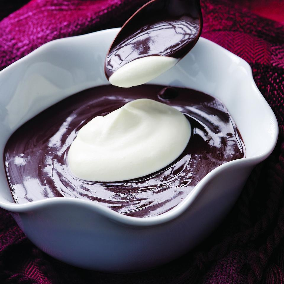This warm pudding has a marvelous deep chocolaty flavor, but it's low in fat and super-quick to make. Don't skimp on the quality of cocoa with this one--treat yourself to the good stuff.