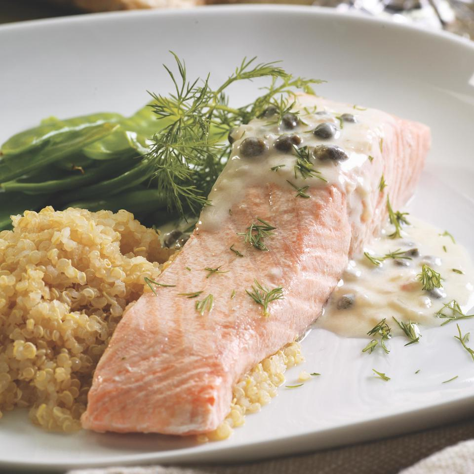 Easy poached salmon is sophisticated with a creamy caper-and-lemon sauce. Make it a meal: Serve with snow peas or roasted asparagus and a whole grain like quinoa or brown rice.