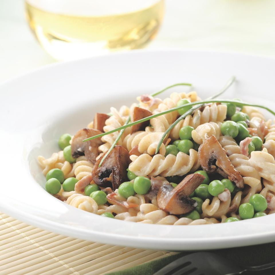 Pasta with Creamy Mushroom-Pea Sauce EatingWell Test Kitchen