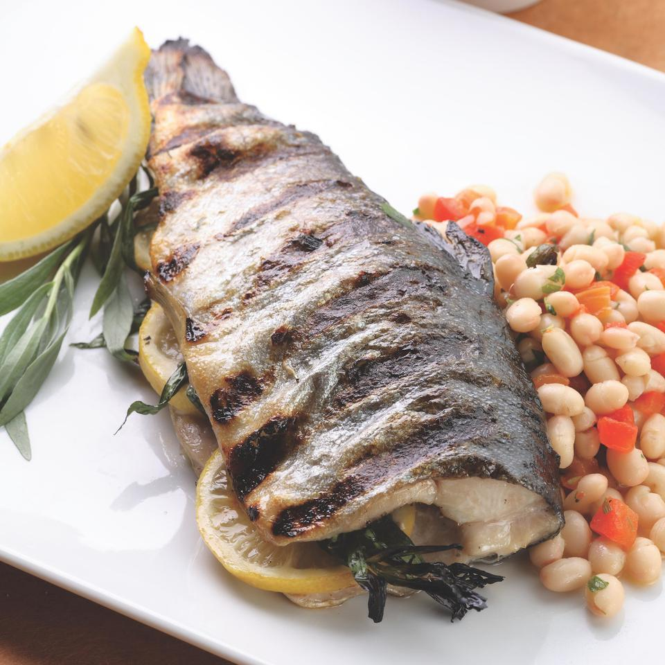 Grilled Whole Trout with Lemon-Tarragon Bean Salad EatingWell Test Kitchen