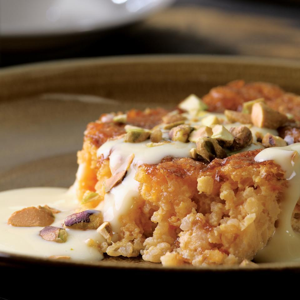 Apricot-Bulgur Pudding Cake with Custard Sauce Carolyn Malcoun