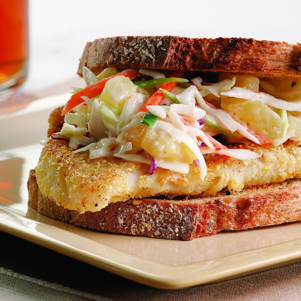 Crispy Fish Sandwich with Pineapple Slaw EatingWell Test Kitchen