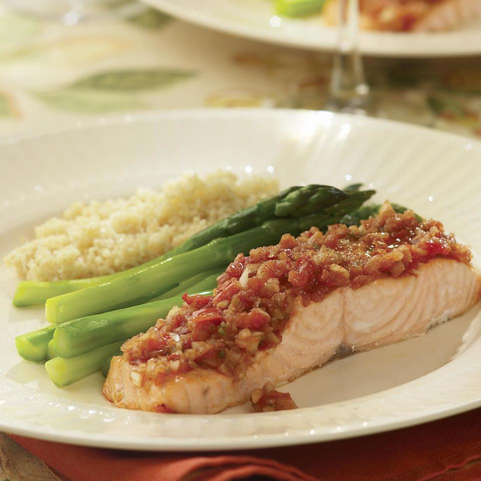 Roast Salmon with Salsa for Two EatingWell Test Kitchen