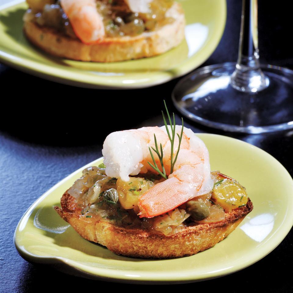 Caramelized Onion & Shrimp Bruschetta EatingWell Test Kitchen