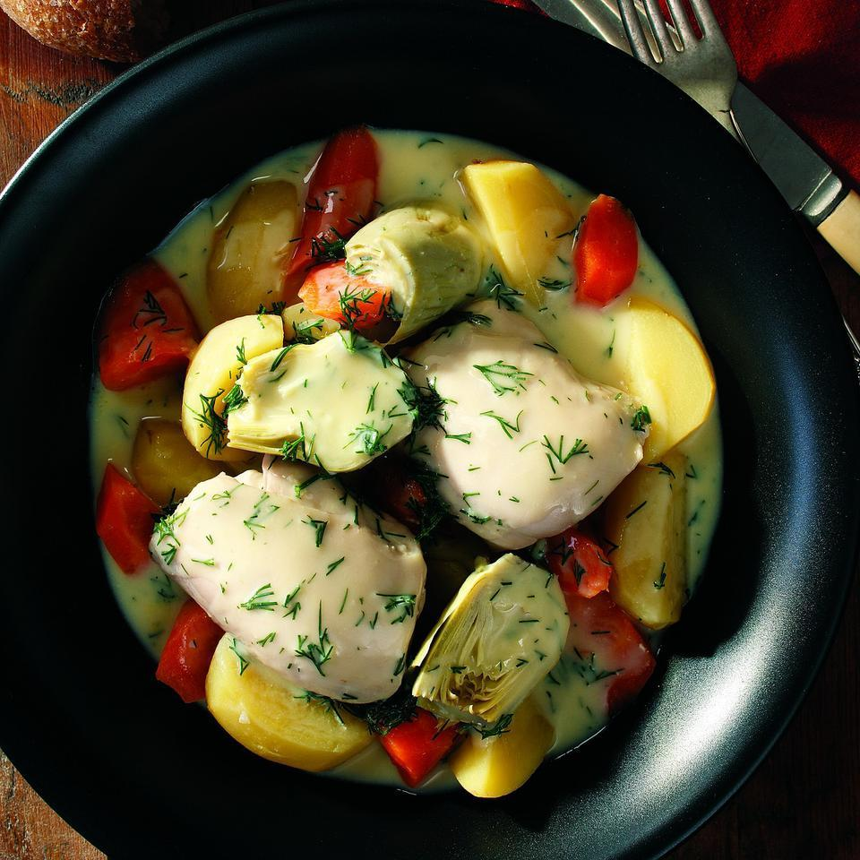 Chicken thighs stay moist and succulent during slow cooking, infusing the accompanying vegetables with superb flavor. This easy braise has a luxurious finish of avgolémono, a versatile Greek sauce made with egg, lemon and fresh dill. Source: EatingWell Magazine, January/February 2008