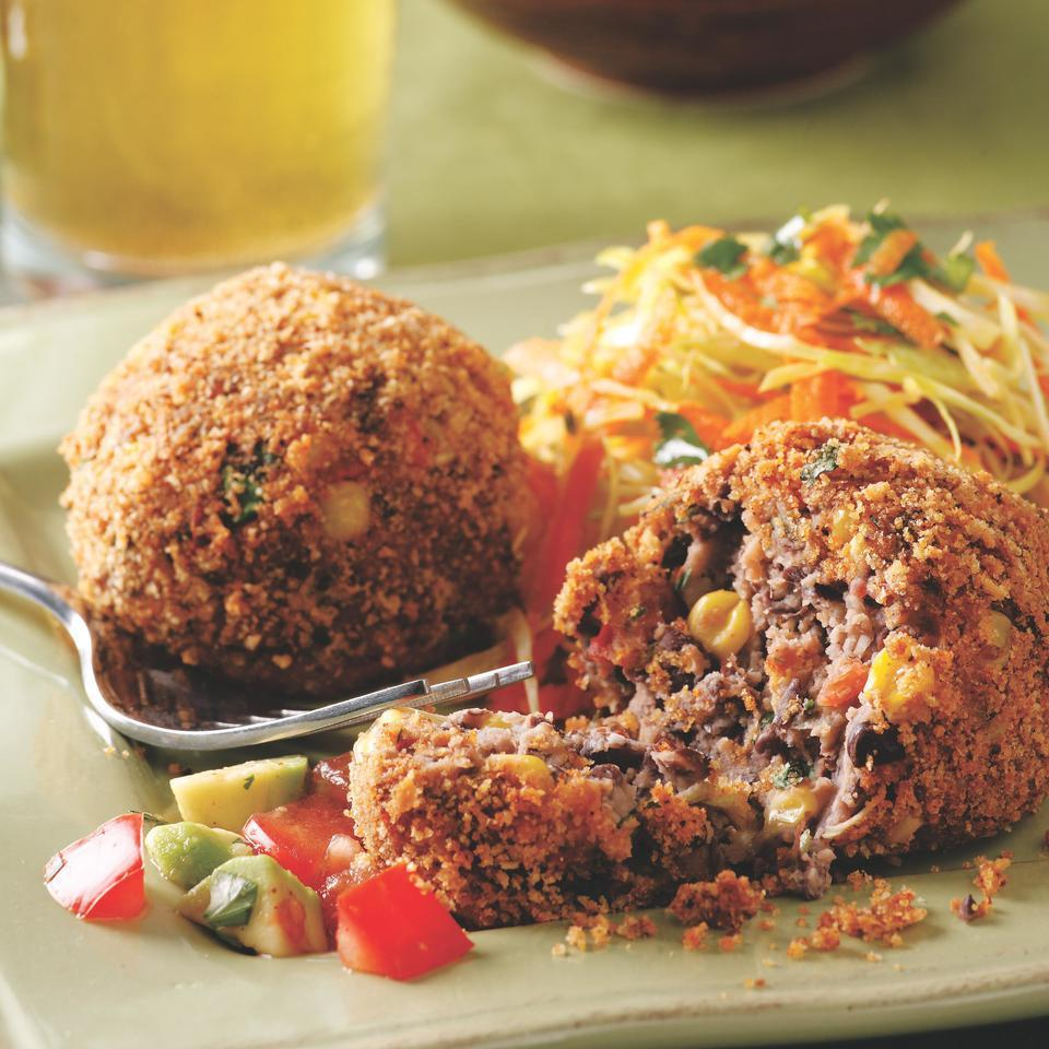 Staples like canned black beans and frozen corn transform into spicy croquettes in mere minutes. Serve with warm corn tortillas, coleslaw and lime wedges. Source: EatingWell Magazine, January/February 2008