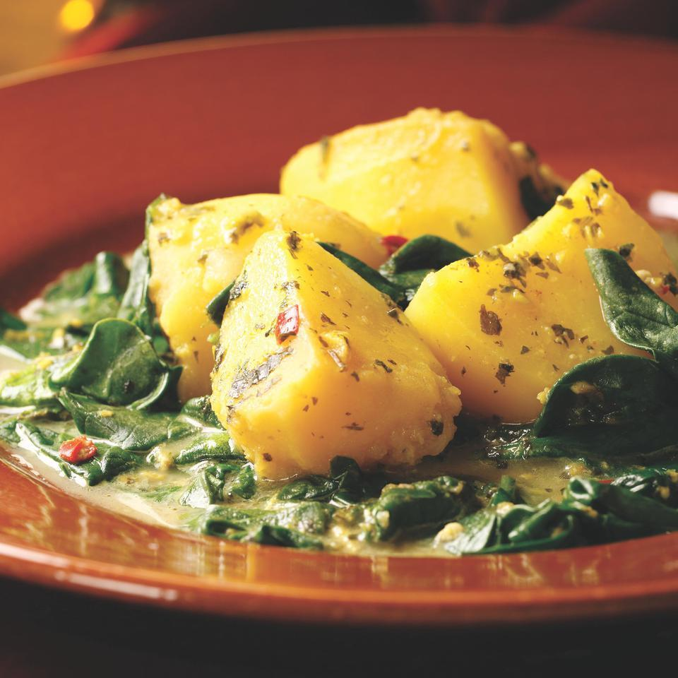 Spicy Stewed Potatoes & Spinach with Buttermilk (Aloo chaas)