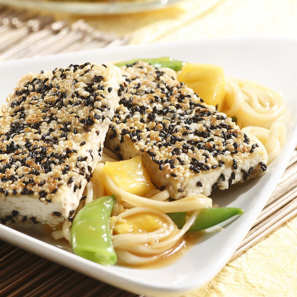 Sesame-Crusted Tofu with Spicy Pineapple Noodles EatingWell Test Kitchen