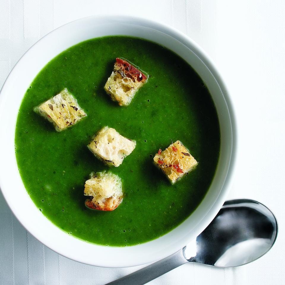 Spinach Soup with Rosemary Croutons Ellen Ecker Ogden