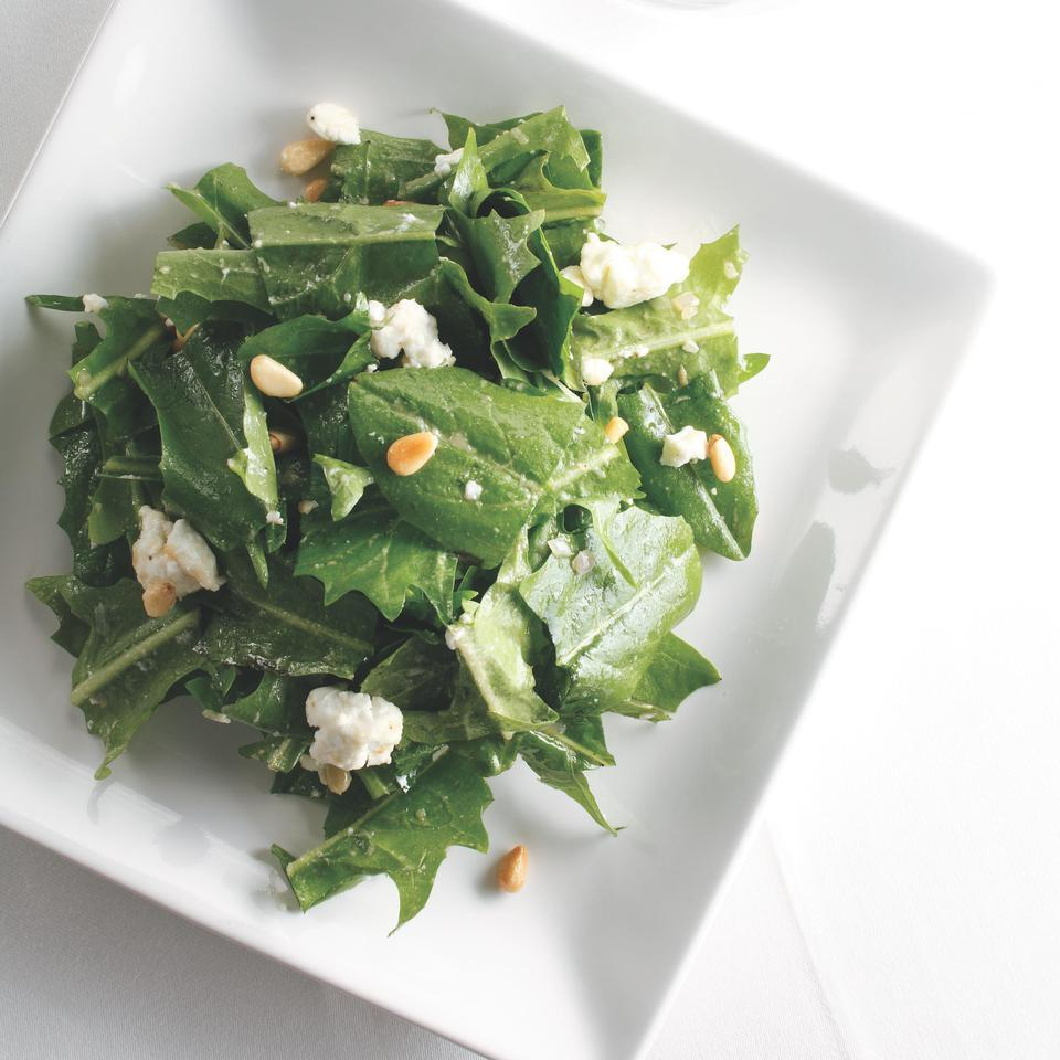 Warm Dandelion Greens with Roasted Garlic Dressing Ellen Ecker Ogden