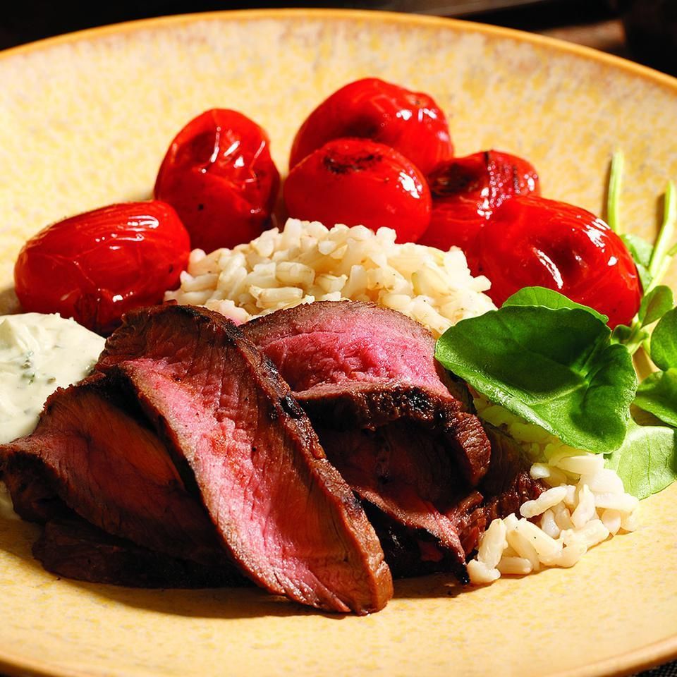 A simple marinade of pureed dried figs and store-bought balsamic vinaigrette adds intense flavor to steak. This recipe is adapted from Lori Welander's grand prize-winning recipe from the 2003 National Beef Cook-Off. Source: EatingWell Magazine, March/April 2008