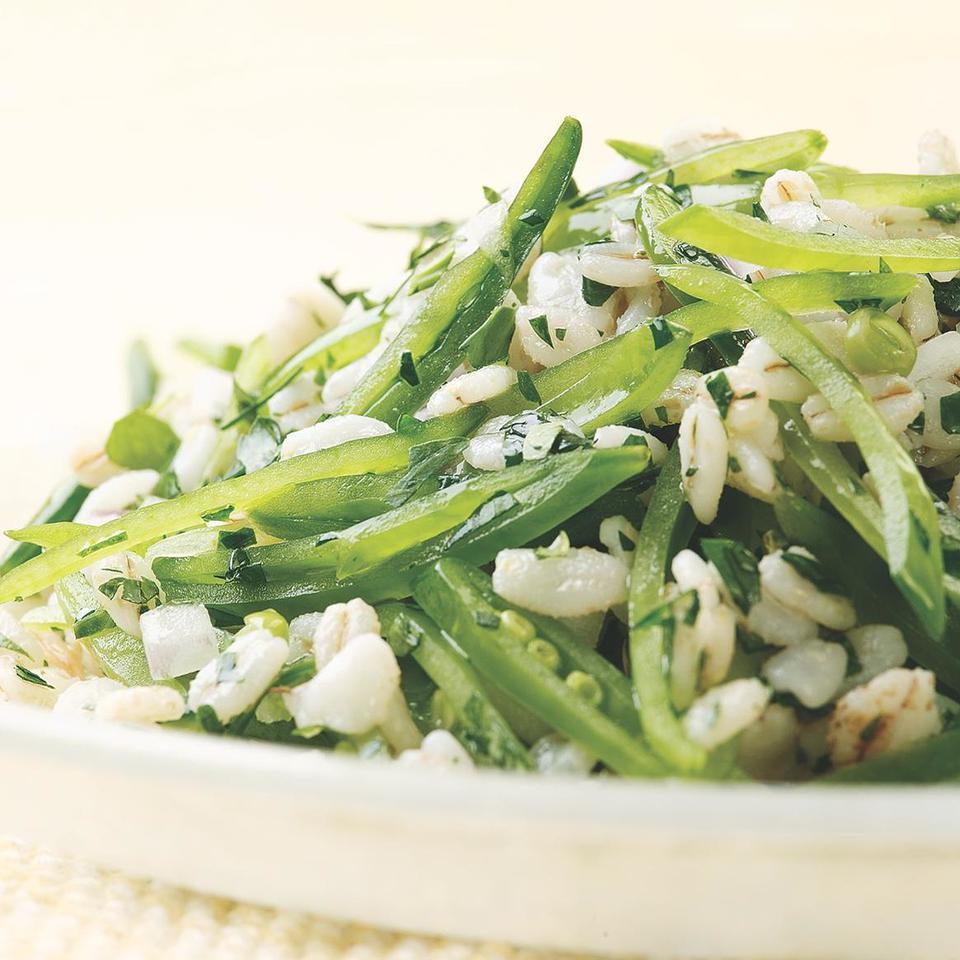 Sugar Snap Pea & Barley Salad EatingWell Test Kitchen