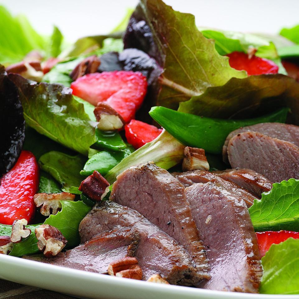 Duck & Strawberry Salad with Rhubarb Dressing EatingWell Test Kitchen